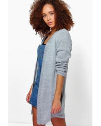 Boohoo | Gray Saskia Midi Length Edge To Edge Cardigan | Lyst