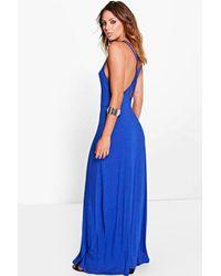 Boohoo | Blue Kira Double Strap Cross Back Maxi Dress | Lyst