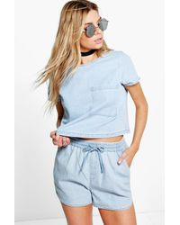 Boohoo - Blue Dora Denim Runner Shorts - Lyst