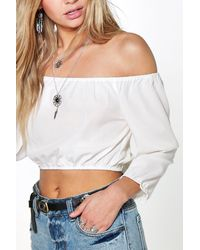 Boohoo - Blue Sophie Woven Off The Shoulder Top - Lyst
