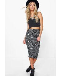 Boohoo - Multicolor Ayah Geometric Diamond Print Midi Skirt - Lyst