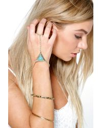 Boohoo - Blue Amelia Triangle Detail Hand Harness - Lyst