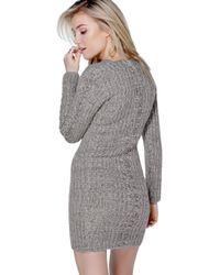 Boohoo - Gray Julia V Neck Cable Front Jumper Dress - Lyst