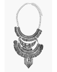 Boohoo - Metallic Alyssa Statement Embellished Necklace - Lyst