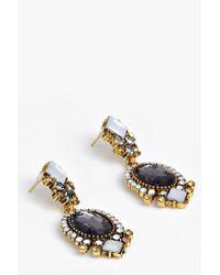 Boohoo - Black Layla Statement Gem Earrings - Lyst
