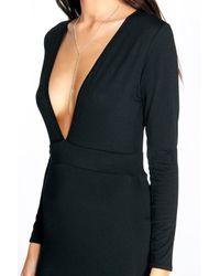 Boohoo - Black Fiona Long Sleeve Plunge Neck Bodycon Dress - Lyst