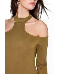 Boohoo - Black Heidi High Neck Open Shoulder L/s Bodysuit - Lyst