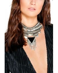 Boohoo - Metallic Maya Beaded Triangle Statement Choker - Lyst