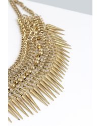 Boohoo - Metallic Nancy Spiked Metal Necklace - Lyst