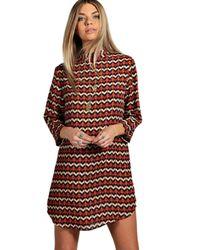 Boohoo - Multicolor Cassandra High Neck 3/4 Sleeve Shift Dress - Lyst
