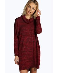Boohoo - Multicolor Tanya Knitted Cowl Neck Shift Dress - Lyst