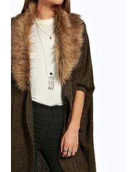 Boohoo - Red Orla Faux Fur Collar Cardigan - Lyst