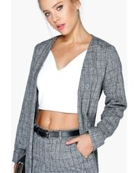 Boohoo - Blue Hayley Boucle Funnel Knit Coat With Pu Trim - Lyst