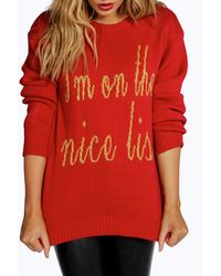 Boohoo - Black Eva I'm On The Nice List Christmas Jumper - Lyst