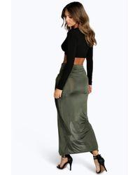Boohoo - Green Willow Slinky D Ring Wrap Asymetric Midi Skirt - Lyst