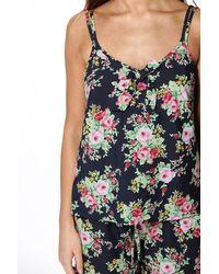 Boohoo - Blue Lizzie Floral Print Vest And Wide Leg Trouser Set - Lyst