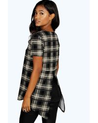 Boohoo - Gray Valerie Split Back Checked Tunic Top - Lyst