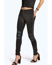 Boohoo - Black Elsie Trouser With Knee Zip - Lyst