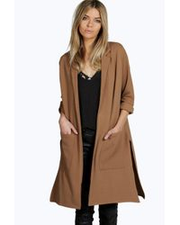 Boohoo | Brown Zoe Side Split Duster Coat | Lyst