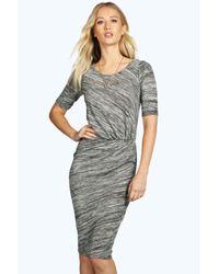 Boohoo - Gray Shana Knot Front Midi Split Dress - Lyst