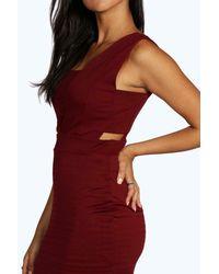 Boohoo - Black Veronica Cut Out Contrast Midi Dress - Lyst