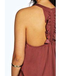 Boohoo - Black Emilia High Neck Ruffle Back Silky Top - Lyst