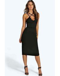 Boohoo | Green Clara Strappy Detail Bodycon Midi Dress | Lyst