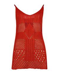 Boohoo - Brown Charlie Crochet Knit Cami Vest - Lyst