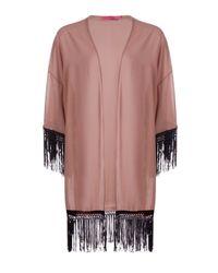 Boohoo - Multicolor Sarah Chiffon Tassel Kimono - Lyst