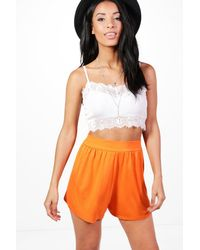 Boohoo - Orange Lucy Jersey Flippy Shorts - Lyst