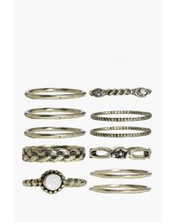 Boohoo - Metallic Skinny Mixed Design Ring Pack - Lyst