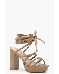 Boohoo - Natural Cross Strap Tie Up Platform Heels - Lyst
