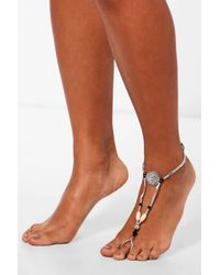 Boohoo - Metallic Lucy Coin Detail Festival Anklet - Lyst