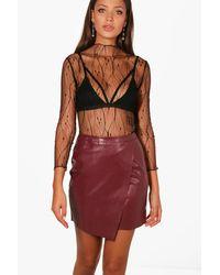 c3da232ac Boohoo Tall Pu Wrap Mini Skirt in Red - Lyst