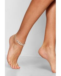Boohoo - Metallic Chunky Chain Anklet - Lyst