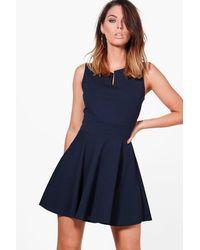 Boohoo | Blue Freya Notch Neck Woven Skater Dress | Lyst
