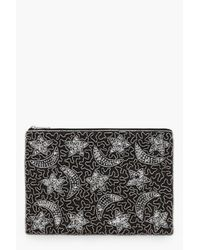 Boohoo - Black Moon And Stars Embellished Clutch Bag - Lyst