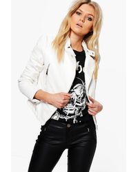 Boohoo - White Keira Quilted Sleeve Faux Leather Biker Jacket - Lyst