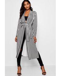 Boohoo Black Monochrome Stripe Kimono