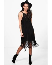 Boohoo - Black Janie Strappy Fringed Slip Dress - Lyst