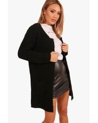 Boohoo - Black Boucle Pocket Front Cardigan - Lyst