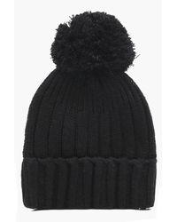 Boohoo | Black Emily Knitted Pom Rib Beanie | Lyst