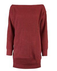 Boohoo - Red Slash Neck Fisherman Jumper Dress - Lyst