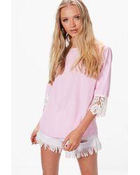 Boohoo - Pink Helena Woven Crochet Sleeve Stripe Blouse - Lyst