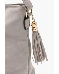 Boohoo - Gray Laura Suedette Bucket Cross Body Bag - Lyst