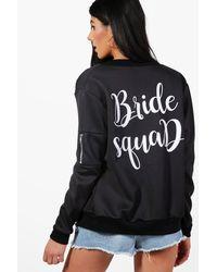 Boohoo - Black Yasmin Bride Squad Bomber Jacket - Lyst