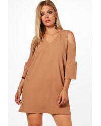 Boohoo - Multicolor Plus Nancy Open Shoulder Crepe Shift Dress - Lyst