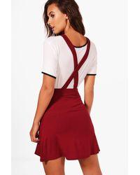 22718376f0 Lyst - Boohoo Petite Tilly Cross Back Pinny Dress in Red