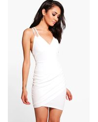 Boohoo | White Petite Hope Double Strap Asymmetric Bodycon Dress | Lyst
