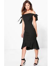 84e1b2ebdbd4 Boohoo Aly Tie Sleeve Off Shoulder Peplum Midi Dress in Black - Lyst